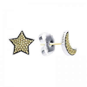 S/S 18K Sig Cav 10Mm Moon & Star Set Stud Earrings