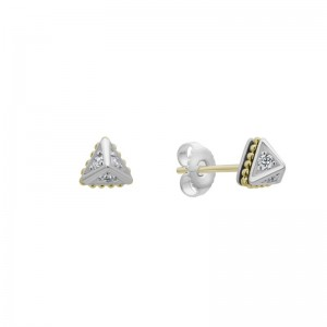 S/S 18K Ksl Dia 6Mm Micro Pyramid Stud Earrings
