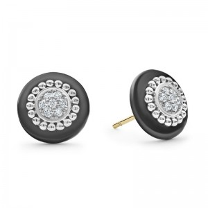S/S Black Caviar Ceramic 12Mm Diamond Pave Stue Earrings