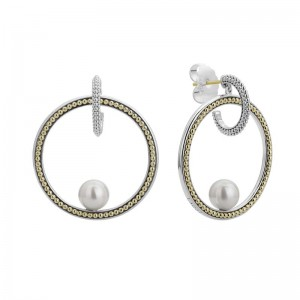 S/S 18K Luna Pearl 38Mm Caviar Circle Post W Drp Earrings