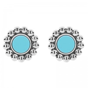 S/S Maya Blue Ceramic 12Mm Crcl Stud Earrings
