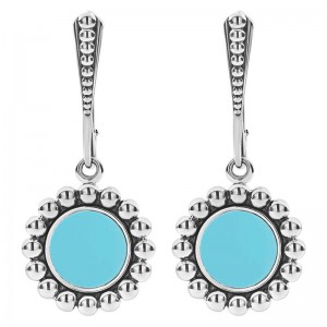 S/S Maya Blue Ceramic 16Mm Crcl Lvrbk Earrings