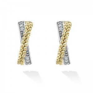 S/S & 18K YG CAVIAR LUX DIAMOND 13MM SMALL X CROSSOVER HOOP EARRINGS