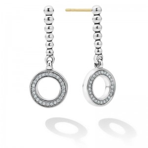S/S CAVIAR SPARK DIAM 10MM CIRCLE w/ 26MM BEAD DROP EARRINGS