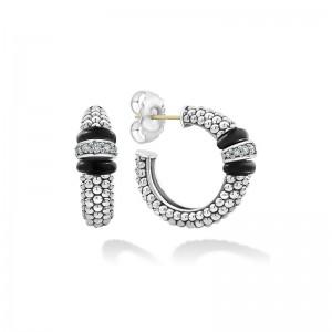 S/S Black Caviar Black Ceramic Diam Ew 1 Link 25Mm Hoop Earring