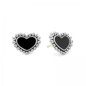 S/S MAYA ONYX INLAY 12MM HEART STUD EARRINGS