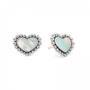 S/S MAYA WHITE MOP INLAY 12MM HEART STUD EARRINGS