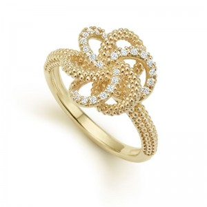 Lady'S Diamond Fashion Love Knot Ring Size 7 With 24=0.16Tw Round Diamonds