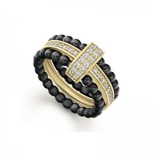 18K Cav Gold Blk Ceramic Dia Center W/ 2 Ceramic Ring Sz 7