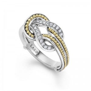S/S 18Kyg Newport Knot  Diamond  Ladies Ring .18Ct  Gh Si