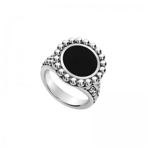 S/S Maya Onyx Inlay 19Mm Crcl Ring Sz 7