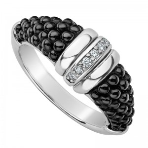 S/S Black Caviar Black Ceramic Dia 1 Row Tapered Ring Size 7