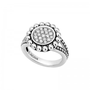 S/S Cav Spark Dia 16Mm Rd Pave Ring Sz 7