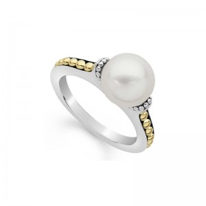 S/S 18K Luna Pearl 9Mm Solitaire Ring Sz 7