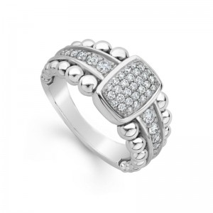 S/S Cav Spark Dia 10Mm N/S Pave Ring Sz 7