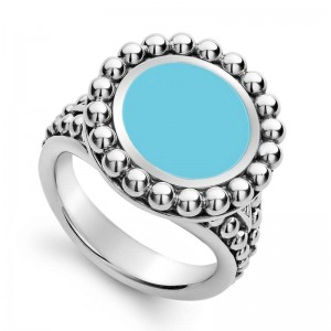S/S Maya Blue Ceramic 19Mm Crcl Ring Sz 7
