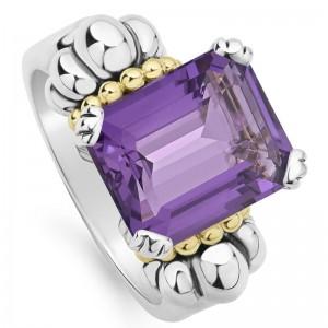 S/S & 18K Yg Glacier Amethyst 12X10 Gemstone Ring