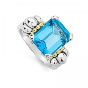 S/S & 18K Yg Glacier Blue Topaz 12X10 Gemstone Ring