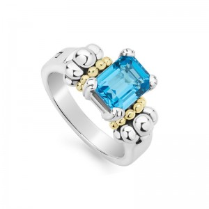 S/S & 18K Yg Glacier Blue Topaz 9X7 Gemstone Ring
