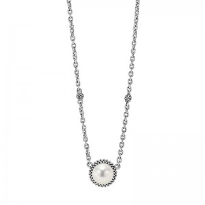 S/S Luna Pearl 8Mm Pendant On Necklace 16-18In Adj