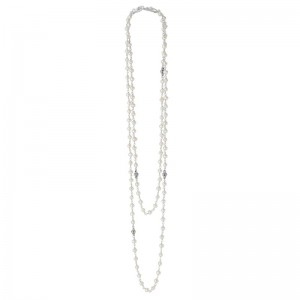 S/S Luna Pearl 3-3.5Mm With 4Mm Baskets Strand Necklace 36