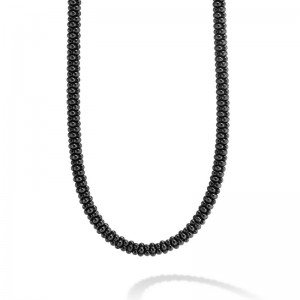 S/S 18K Black Caviar Ceramic Bld 5Mm Rope Necklace 16 In