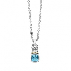 Caviar Color Blue Topaz Pendant Necklace