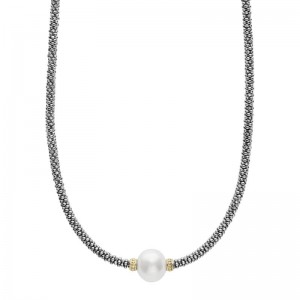 S/S 18K Luna Blk Pearl 1 Stn Rope Necklace 16In