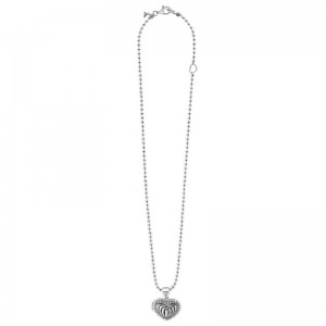 S/S Beloved Fluted Heart Locket Pendant On Necklace 16-18