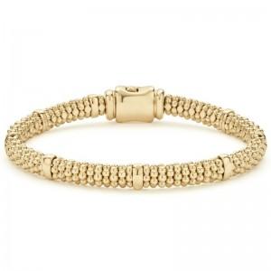 18K Cav Gold 8 Smooth Stns 6Mm Rp Brclt Sz M