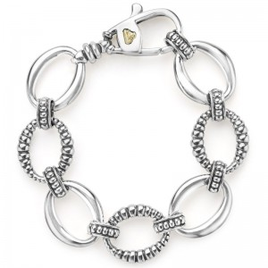 S/S Links Smooth & Fltd Link Bracelet Size:M
