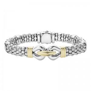 S/S 18K Derby Bracelet With Gold Ribbing