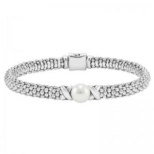S/S Luna Pearl Button & X 6Mm Bracelet Sz M