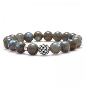 S/S Maya 10Mm Caviar Ball Bracelet With 18 Labradorite Beads