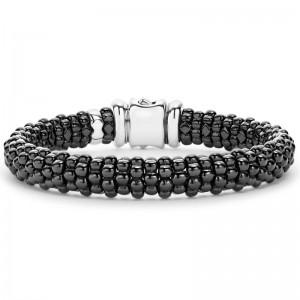 S/S 18K B&W Caviar Ceramic 9Mm Bracelet Size:M