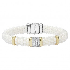 White Caviar Diamond Beaded Bracelet