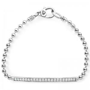 S/S Caviar Spark Diam 3Mm Lrg Bar Bchain Strand Bracelet Size  M