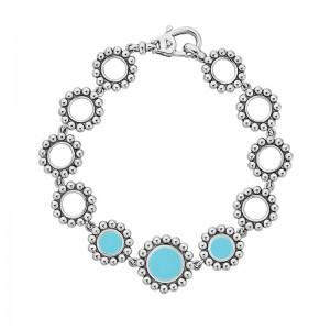 S/S Maya Blue Ceramic 3 Circle Link Brclt Sz 7