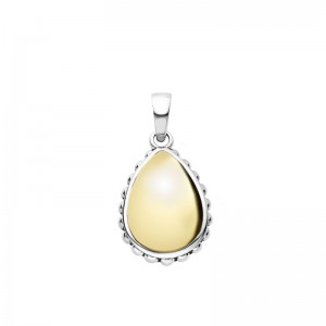 S/S 18K High Bar Smooth Teardrop  Pendant