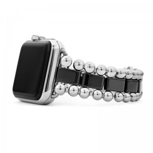 Sst Smart Caviar Blk Ceramic 38Mm Link Watchband Sz 7