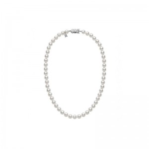 Mikimoto cultured pearl necklace 18 inches long 6.5 by 7mm of A-1 quality