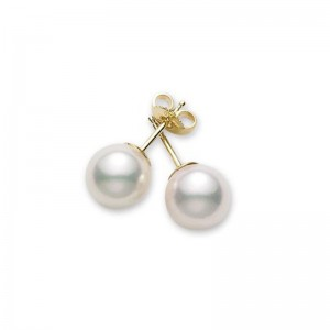 Mikimoto 18 karat yellow gold 6 by 6.5mm white cultured pearl stud earrings AA quality.