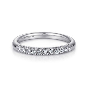 14K White Gold 11 Stone French Pave Diamond Wedding Band
