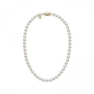 Mikimoto uniformed single strand cultured pearl necklace measuring 18 inches long having pearls measuring 7 by 7.5mm each, AA quality