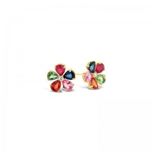 14K Muliticolor Flower & Diamond  Stud Earrings