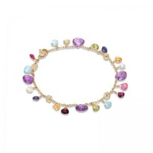 Marco Bicego Paradise Collection 18K Yellow Gold Blue Topaz and Mixed Gemstone Single Strand Bracelet