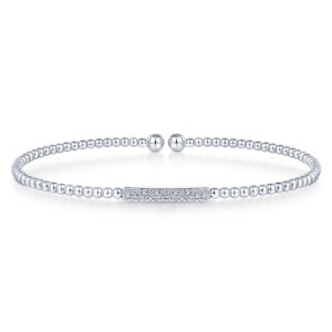 14K White Gold Bujukan Bead Cuff Bracelet with Diamonds