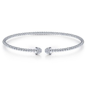 14K White Gold Bujukan Bead Cuff Bracelet with Diamond Pave Caps
