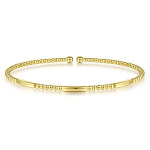 14K Yellow Gold Alternating Bujukan Bead and Plain Bar Cuff Bracelet