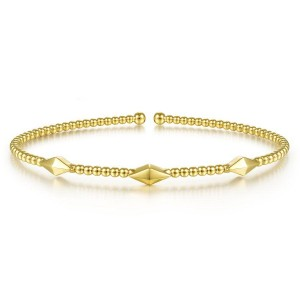 14K Yellow Gold Bujukan Bead Cuff Bracelet with Pyramid Stations
